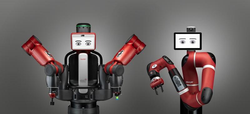 미국의 산업용 로봇 제조사인 리싱크 로보틱스가 시판중인 로봇 백스터(왼쪽)와 소여. 이들 로봇은 손쉬운 조작법과 학습가능성 및 안전성을 갖추고 있어, 로봇 전용 생산라인과 공장을 구축하지 않고 기존의 사람이 작업하던 현장에 그대로 투입되어 사람과 함께 노동할 수 있는 기계라는 점을 장점으로 홍보하고 있다. 리싱크로보틱스 제공