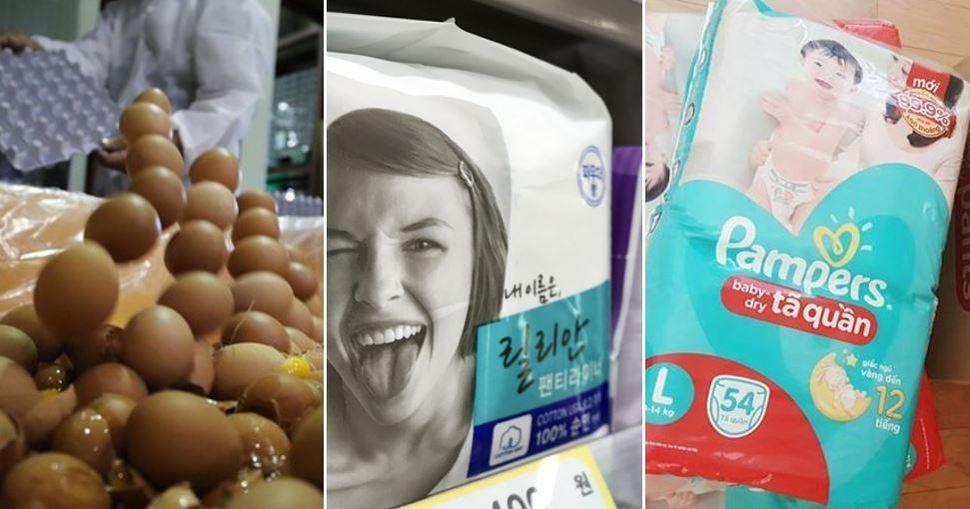 (왼쪽부터) 살충제 성분이 검출된 달걀, 부작용 논란을 겪고 있는 생리대 그리고 발암물질 논란을 겪은 기저귀.