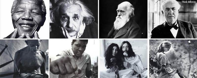 스티브 잡스는 애플에 복귀한 1997년부터 2002년까지 '다르게 생각하라'(Think different)는 광고 캠페인을 시작했다. (왼쪽 위부터 시계 방향으로) 넬슨 만델라, 알베르트 아인슈타인, 찰스 다윈, 토머스 에디슨, 제인 구달, 존 레넌과 오노 요코, 무하마드 알리, 마하트마 간디 등 남다른 생각과 행동으로 세상을 바꾼 이단아들이 모델로 등장했다.