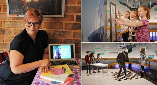 지난 11일 서울 중구 한 카페에서 카린 뉘고츠가 스웨덴 어린이 코딩교육 수업 사례를 설명하고 있다.(사진 왼쪽) 김지윤 기자 카린은 지난해 10월 스웨덴 교육방송 우에르(UR)에서 <프로그라메라 메라>를 기획·진행했다. 아이들이 코딩 단어 카드를 활용해 로봇에게 부여할 동작 순서를 배치하고 있다. 그에 따라 '댄싱 로봇'이 춤을 추고 있는 모습. 카린 뉘고츠 제공