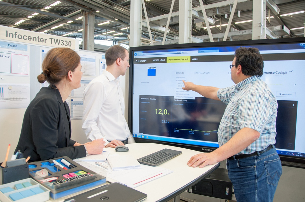 공작기계 업체 트룸프의 디칭겐 공장에서 직원들이 생산 현황을 보여주는 데이터를 보고 있다. 트룸프 제공