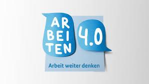 """독일 '노동 4.0'의 엠블럼. """"노동을 계속 생각하다""""라는 말이 씌어 있다."""