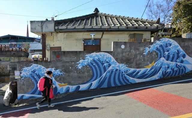 청주 안덕벌 용사태맘을 언덕길의 벽화.