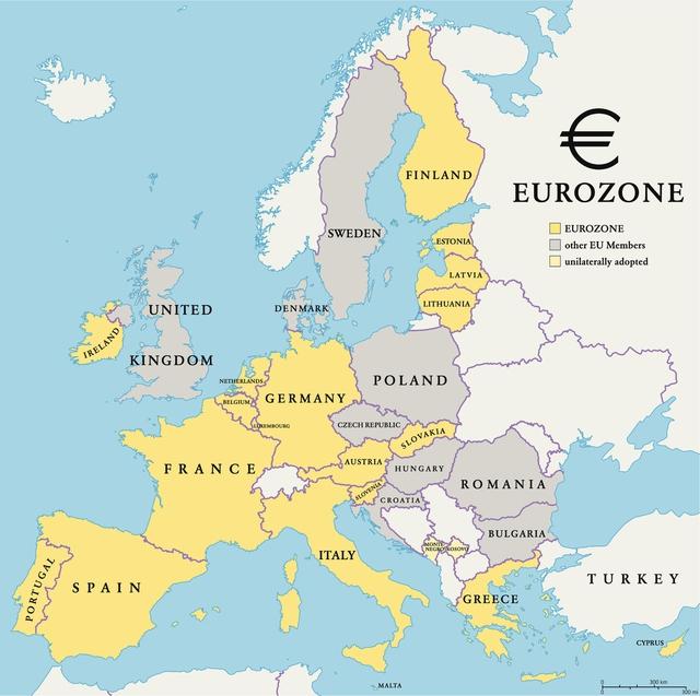 유로를 단일통화로 쓰고 있는 유럽 국가들. 게티이미지뱅크