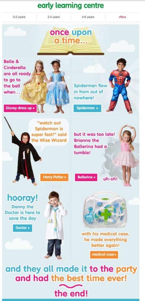 """지난 2월 영국의 완구 업체인 얼리러닝센터가 공개한 장난감 광고. '렛 토이스 비 토이스'는 이 광고를 두고 """"여자아이들이 수동적인 공주 역할을 하고 있을 때 '똑똑하고' '현명하고' '활동적인' 남자아이들은 나라를 구하고 있다. 너무 실망스러운 광고다""""라고 비판했다."""