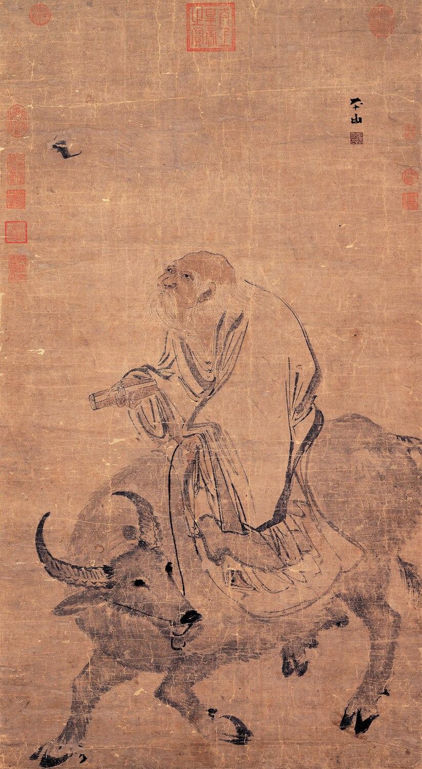 명나라 화가 장로(1464~1538)가 그린 '물소를 탄 노자'(老子騎牛圖). 노자는 물소를 타고 세상을 떠돌았다고 전해진다. 대만 국립고궁박물관 소장