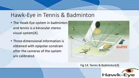 호크아이의 골라인 테크놀로지가 적용된 테니스와 배드민턴 심판 보조시스템