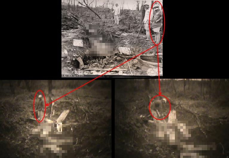 위쪽 큰 사진은 1997년 공개된 것으로, 명확한 설명이나 관련 자료가 없어 위안부 피해자 학살 증거로 인정받는 데 논란이 있었다. 아래 두 사진은 이번에 공개된 영상을 갈무리한 것으로, 영상 속 중국 병사(붉은 원)가 주검의 양말을 벗기는 모습이 담겨 있다. 사진과 영상에 나오는 중국 병사가 동일하다. 서울시, 서울대인권센터 제공