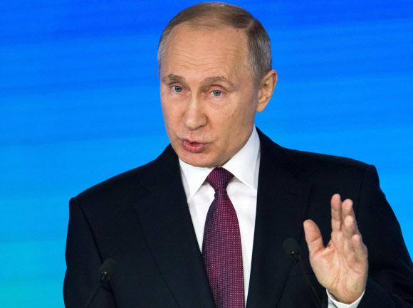 블라디미르 푸틴 러시아 대통령이 1일 연설하고 있다. 모스크바/AP 연합뉴스
