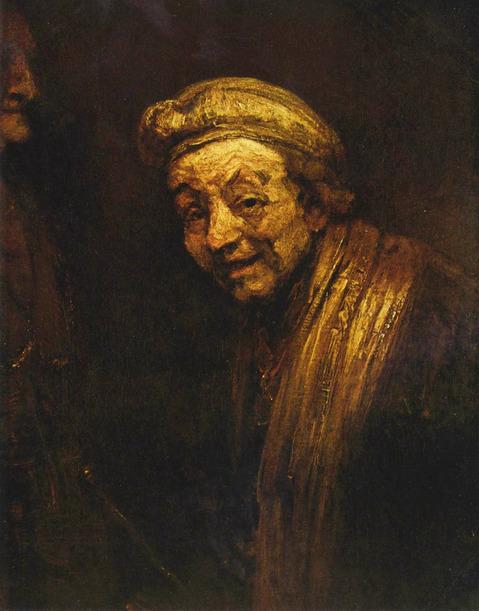 17세기 거장 렘브란트의 말년 자화상. 죽기 1년 전인 1668년 그린 것이다. 고대 그리스 화가 제욱시스를 빗대어 그린 작품으로 보는 견해들이 많다.