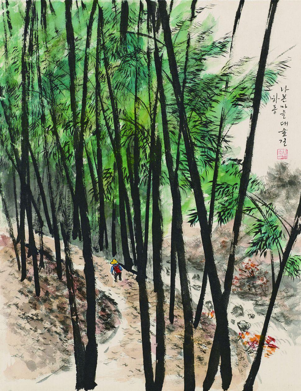 나본마을 대숲길. 60×46㎝, 한지에 수묵채색, 2016