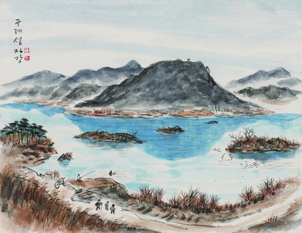 구례 섬진강. 46×60㎝, 한지에 수묵채색, 2015