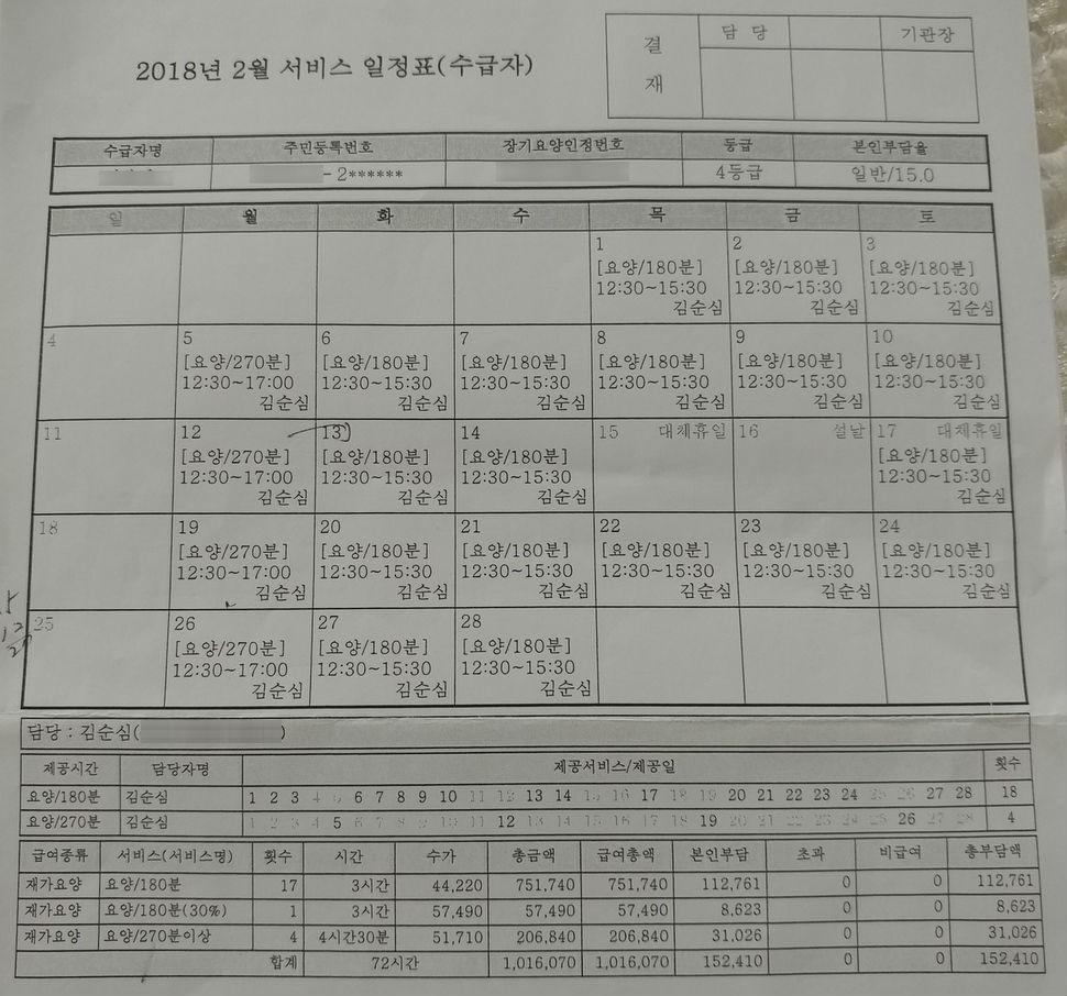 요양보호사 김순심씨가 매일 오후 찾아가는 가정의 지난달 서비스 일정표. 주 6일을 일하며 명절 연휴에도 이 틀만 쉬었다. 박기용 기자 xeno@hani.co.kr