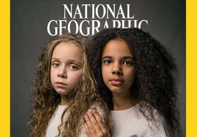 〈내셔널지오그래픽〉 2018년 4월호 표지에 등장한 마샤 빅스와 밀리 빅스 자매. 둘은 이란성 쌍둥이다. 사진 〈내셔널지오그래픽〉 홈페이지.