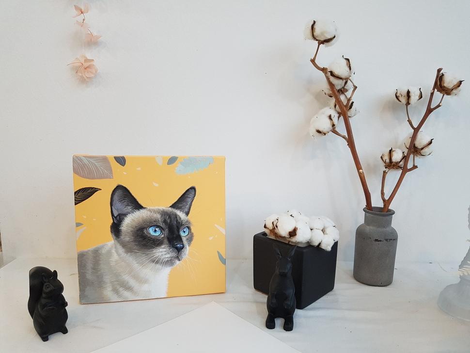 정지희씨가 '유기동물 행복 찾는 사람들'에 보호 중인 한 유기묘의 얼굴을 그렸다.