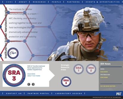 2002년 MIT 대학 안에 설립된 '전투병용 나노테크 연구소'는 직접적인 무기 개발이 아닌, 전투병의 생명과 안전을 보호하기 위한 기술 개발에 초점을 맞춘 연구를 진행하고 있다.  연구소 홈페이지.