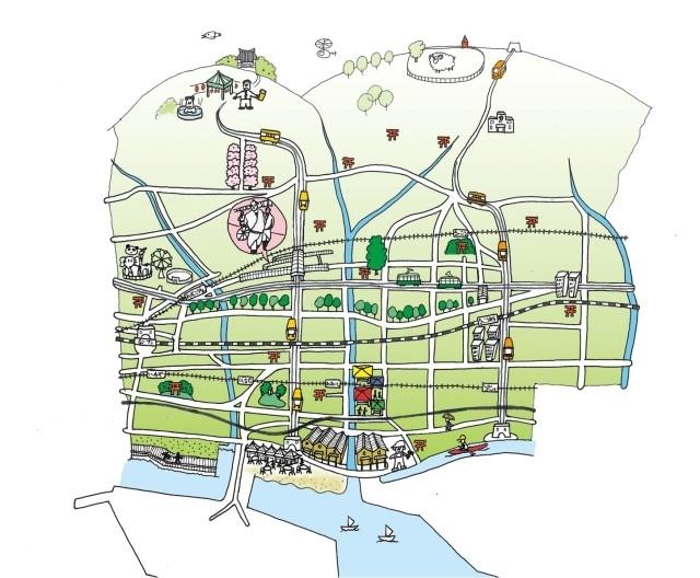 마을 사람들이 자유롭게 그린 재건 이후 마을 상상도. 우츠미 켄이치 제공