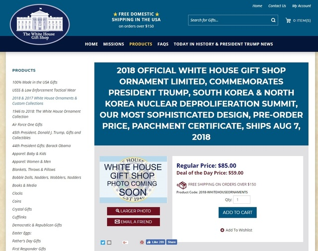 Photo] White House gift shop offers discounts on