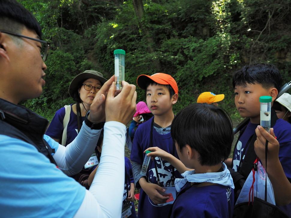 대전 만인산에서 26~27일 생물다양성 탐사 대작전(바이오블리츠)이 열린 가운데 26일 참가자들이 이승규 국립수목원 곤충분류연구실 박사로부터 알코올이 든 곤충 채집병에 관한 설명을 듣고 있다. 대전/조홍섭 기자