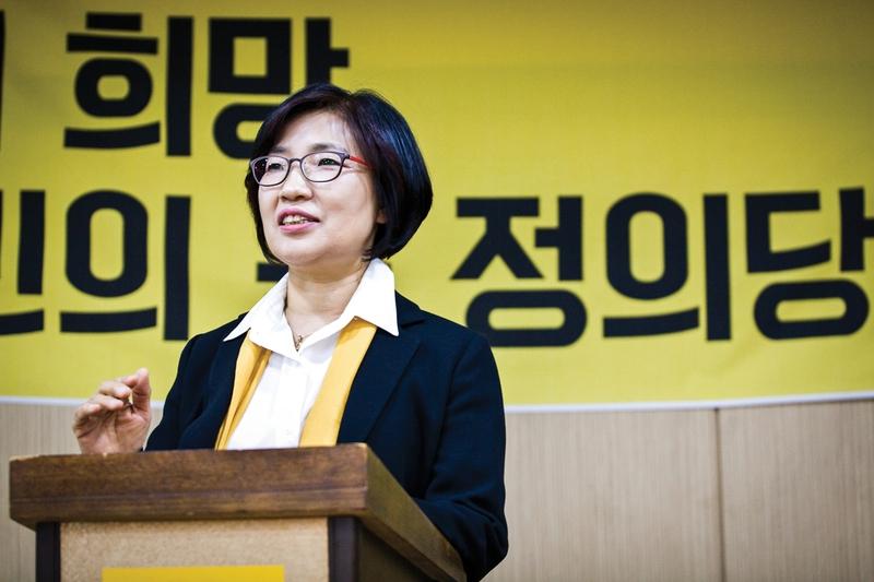 그동안 정치에서 소외되었던 노동자와 여성을 대표하겠다는 박주미 정의당 부산시장 후보. 박주미 후보 제공