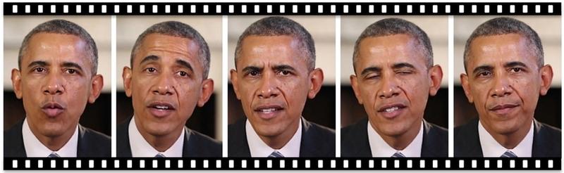 미국 워싱턴대 연구진이 지난해 인공지능을 이용해 오바마 전 대통령의 가짜 동영상을 만들어 공개한 이미지. 14시간 분량의 오바마 동영상을 학습해 해상도 높은 가짜 동영상을 만들어냈다.