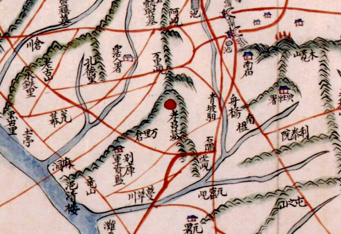 조선 후기의 지도 <동여도>에 '효창묘'로 표시된 효창원. 정조가 문효세자의 묘를 쓸 당시에는 효창묘였다가 1870년 고종에 의해 효창원으로 격상됐다.