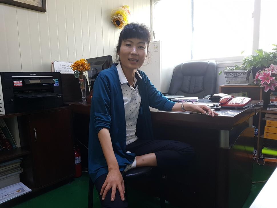 해주부용식품 윤향순 대표. 2006년 한국 땅을 밟은 새터민이다. 최우성 기자