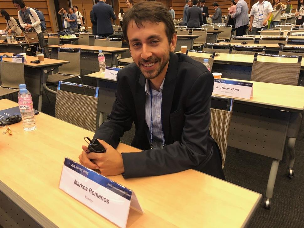 지난 15일 서울 중구 대한상공회의소에서 열린 '2018 사회적 경제 국제포럼'에서 주제발표를 하기 위해 한국을 찾은 스페인의 에너지 스타트업 '클레너지'의 마르코스 로마노스 최고운영책임자.