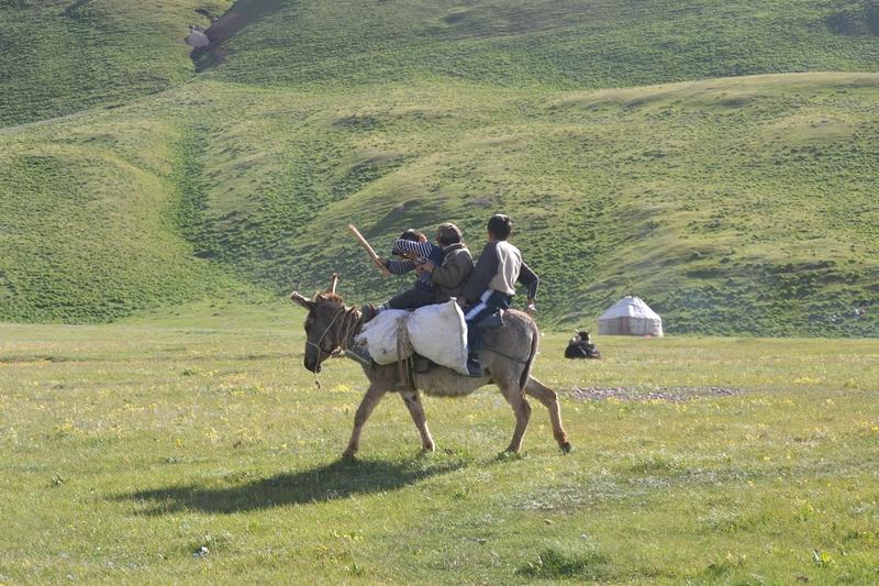 키르기스의 아이들이 당나귀를 타고 초원을 거닐고 있다. 이 아이들에게 가끔 사탕을 몇개 주게 되면 이들은 온 산을 뒤져 식용 풀을 꺾어다 준다.  공원국 제공