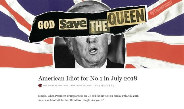 록밴드 그린데이의 곡 '아메리칸 이디엇'을 다운받자는 에스엔에스 캠페인을 벌이고 있는 페이스북 페이지.