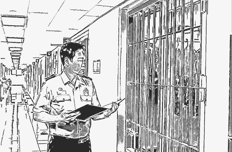 지난달 27일 오승훈 기자가 서울동부구치소 수용동에서 순찰을 돌고 있다. '인스턴트 스케치' 프로그램을 이용해 사진을 그림처럼 변환했다. 동부구치소 제공