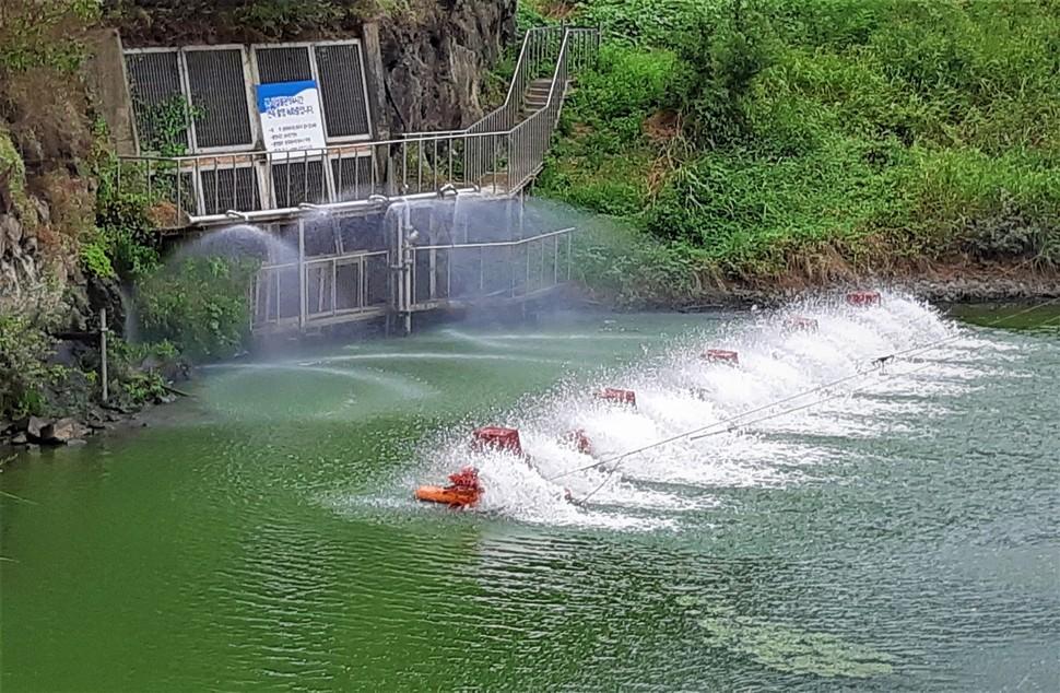 지난 8월 낙동강 본포 취수장에 녹조가 발생해 녹조 제거 장비를 가동한 모습. 최상원 기자