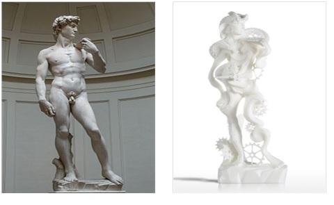 미켈란젤로의 다비드상 과 3D 프린팅된 다비드 상. https://en.wikipedia.org/wiki/David_(Michelangelo)