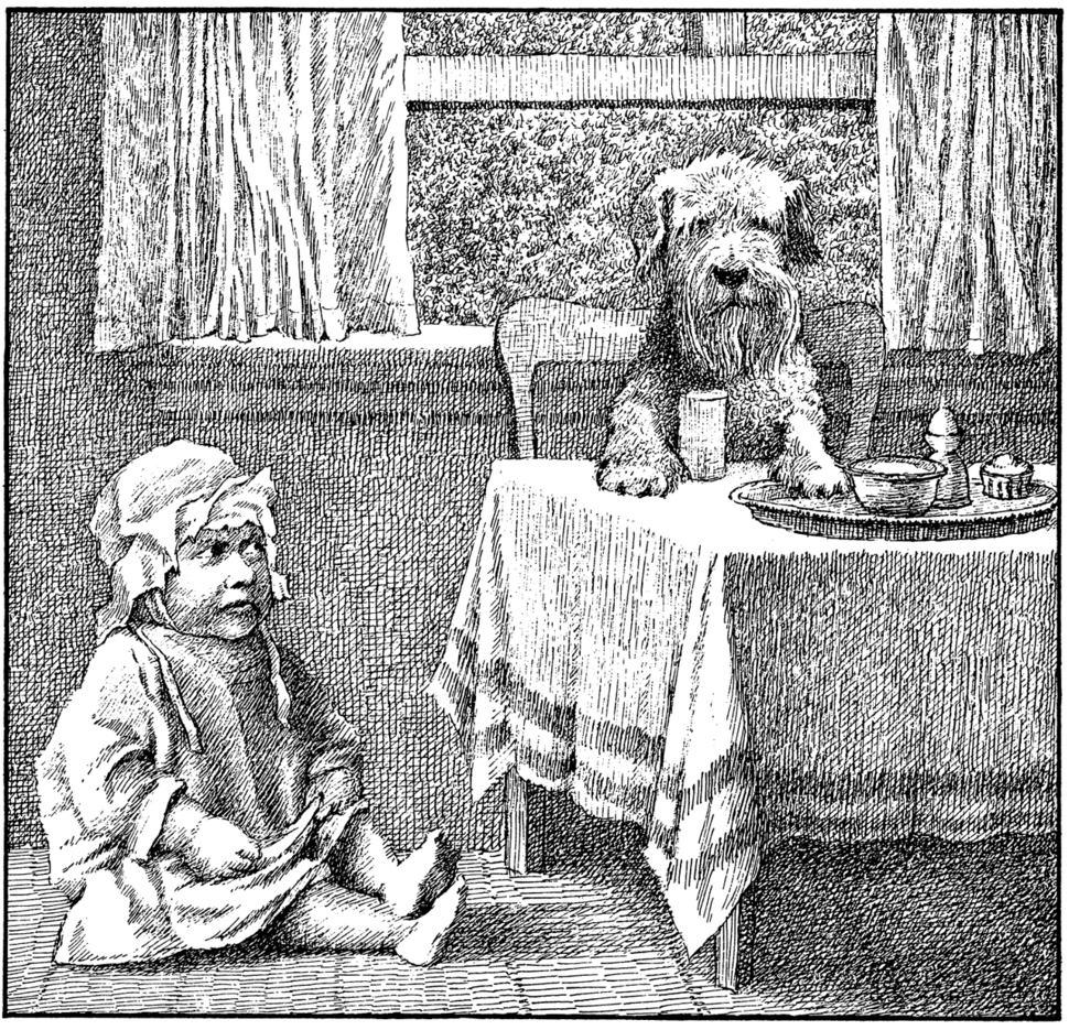 """""""안 먹어""""를 외치며 6명의 보모를 사자밥이 되게 한 아기와 7번째 보모가 된 제니의 만남 장면. 어른의 얼굴을 한 아기 모습이 기이하다."""