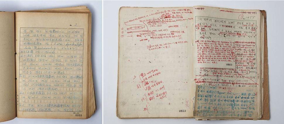 한국전쟁이 한창이던 1950년 11∼12월에 베껴 쓴 제6권 원고의 일부(왼쪽), 1953년 전주에서 수정한 제5권 원고의 일부. 사진 출처 <국가기록원>