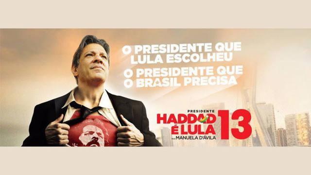 페르난두 아다드 브라질 좌파 노동자당 대선 후보의 포스터. '룰라가 선택한 대통령, 브라질이 필요한 대통령'이라고 적혀있고, 풀어헤친 셔츠 안엔 룰라 전 대통령의 얼굴이 그려져 있다. 파울로 테익세이라 좌파노동자당 의원 트위터 갈무리