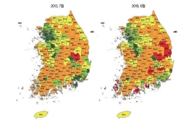 228개 시군구별 지방 소멸 위험 현황. 2013년 75곳이었던 소멸위험 지역은 5년 사이 89곳으로 불었다. 한국고용정보원