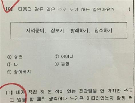 서울시여성가족재단의 온라인 조사에 제출된 한 초등학교의 2018년 1학기 초등학교 시험문제. 서울시여성가족재단 제공