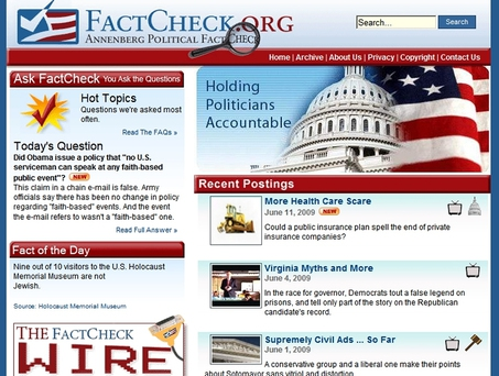 허위 정보 탐지에 활용되는 대표적 비기술적 방법은 전문가들의 팩트체크이다. 미국 펜실베이니아대학 애넌버그 공공정책센터의 팩트체크(www.factcheck.org).  (※ 그래픽을 누르면 크게 볼 수 있습니다.)