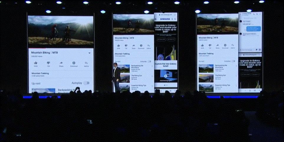 삼성전자 폴더블폰의 사용자 환경. 3개의 앱이 동시 구동된 모습. 유튜브 캡쳐.