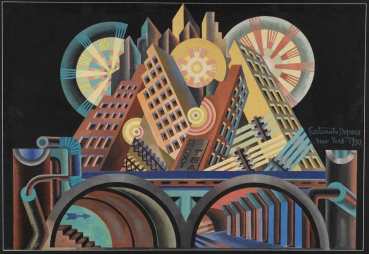 이탈리아 미래파 화가 포르투나토 데페로의 작품 '고층빌딩과 터널'.