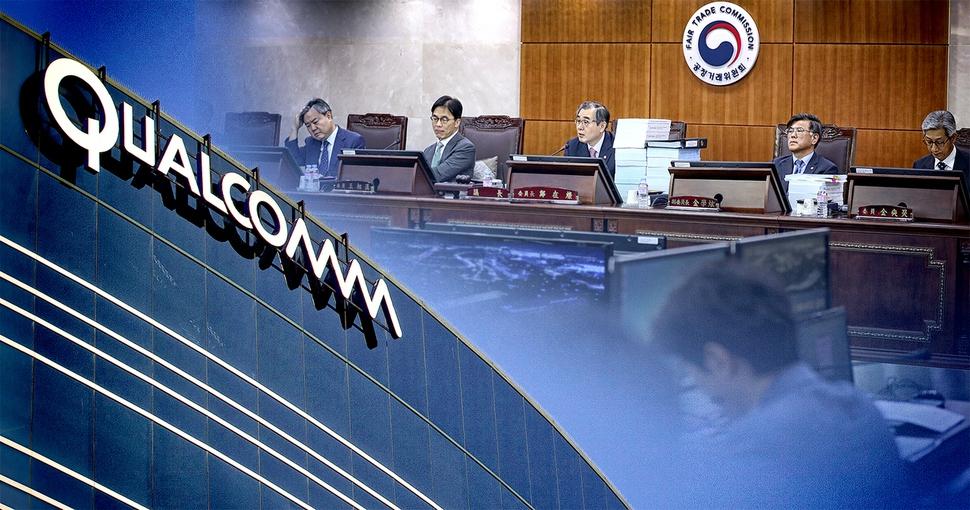 미국 퀄컴 본사 건물과 2016년 12월28일 퀄컴 관련 결정을 위해 열린 공정위 전원회의 장면을 합성한 모습. 그래픽 이정윤 기자 bbool@hani.co.kr