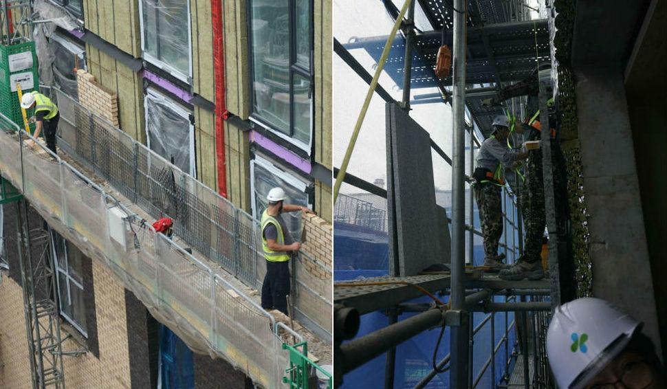 (왼쪽) 지난달 11일 영국 레스터의 한 건설현장에서 건물 외벽을 마감재인 벽돌로 덧대는 작업자들. 이들은 비계 위가 아닌 '마스터 클라이머'라 부르는 기중기 위에서 일했다. (오른쪽) 지난 9월19일 서울 홍제동의 한 건설현장 비계 위에서 노동자들이 작업 중 근로감독관의 지적을 받은 뒤 안전고리를 비계에 걸고 있다.
