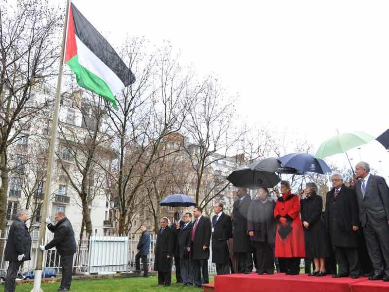 2011년 유네스코가 팔레스타인의 정회원국 가입을 승인하고 팔레스타인 국기를 게양하고 있다. 출처: 유네스코 누리집
