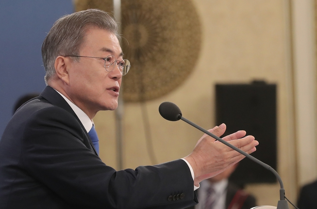 Moon announces plans to cooperate with US and international community to ease sanctions