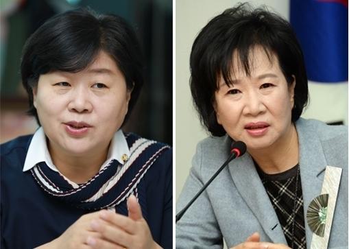 왼쪽부터 서영교 의원, 손혜원 의원. 류우종 기자·이정우 선임기자