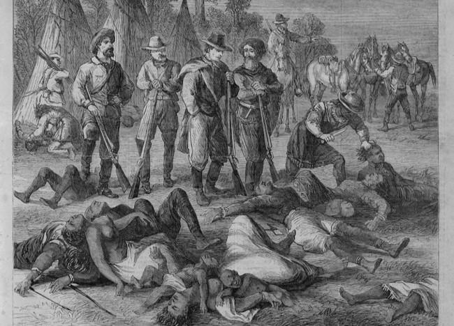 유럽 정복자들의 아메리카 원주민 학살을 묘사한 그림.