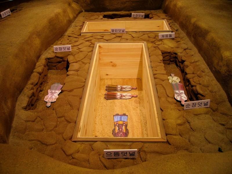가야와 신라 시대에는 왕이나 귀족이 죽으면 순장하는 풍습이 있었다. 그동안 순장자는 모두 노예일 거라고 추정했으나, 인골에 대한 과학적 연구가 진행되면서 순장자의 신분이 단순하지 않다는 사실이 밝혀지고 있다. 육류를 즐긴 순장자도 있으며, 일부 순장자는 금동관을 쓴 사람도 있다. 사진은 순장이 행해진 가야 고분의 모형. 권오영 교수 제공