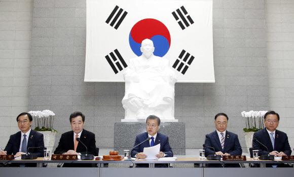 문재인 대통령이 26일 오전 서울 용산구 백범기념관에서 열린 국무회의에서 발언하고 있다. 연합뉴스