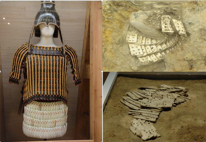 일본 군마현에 있는 가나이히가시우라는 6세기 초 하루나 화산의 폭발로 흔적을 고스란히 간직한 마을 중 하나다. 이곳에서는 특히 백제의 몽촌토성에서 출토된 사슴뼈 비늘갑옷이 발견돼 비상한 관심을 끌었다. 왼쪽은 몽촌토성에서 나온 갑옷의 복원 모습이며, 오른쪽 위는 가나이히가시우라, 아래는 몽촌토성의 갑옷 출토 당시 모습이다. 권오영 교수 제공